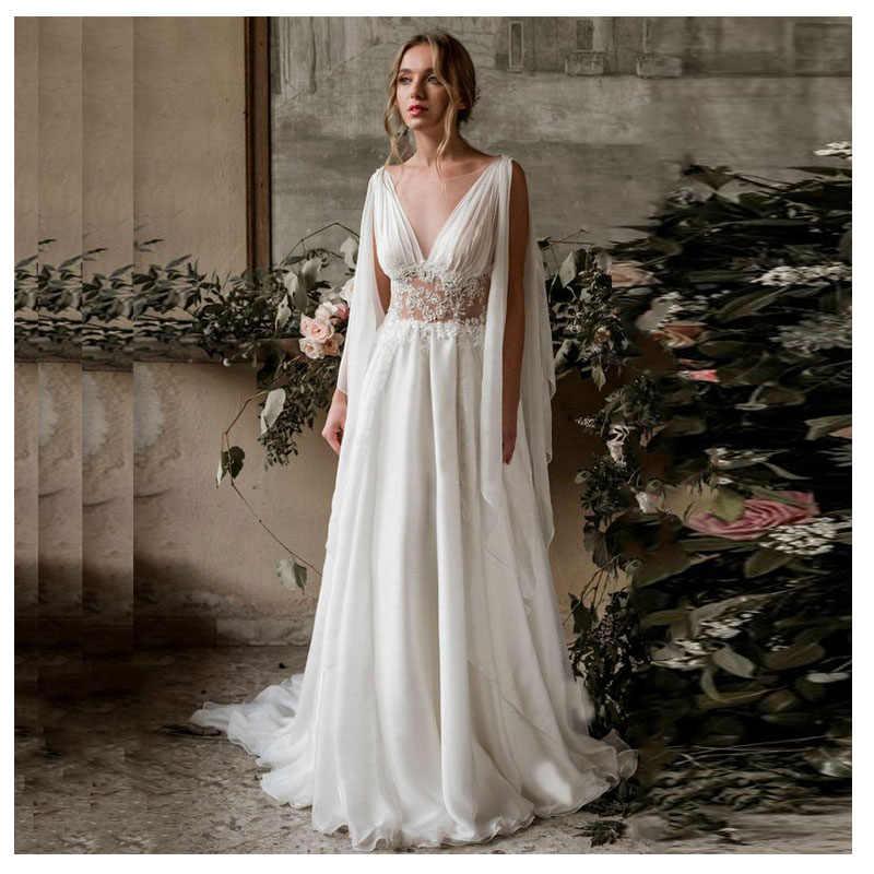 2019 งาช้าง Elegant Appliqued Fairy งานแต่งงาน Dresses สายรถไฟภาพลวงตาแขนกุดเจ้าสาว Custom Made