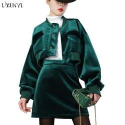 LXUNYI 2019 Новая Мода Бархатная юбка костюм комплект женский укороченный Топ куртка + мини-юбка рукав летучая мышь женские комплекты из двух