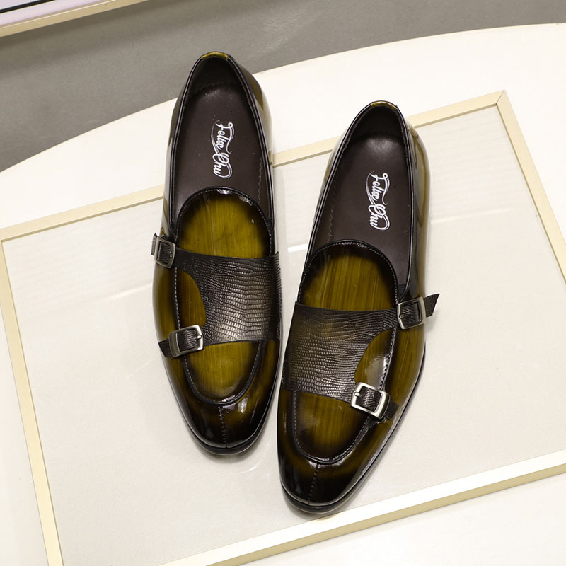 2019 Autumn Patent Leather Mens Loafers Wedding Party Dress Shoes Black Green Monk Strap Casual Fashion Men Slip On Shoes