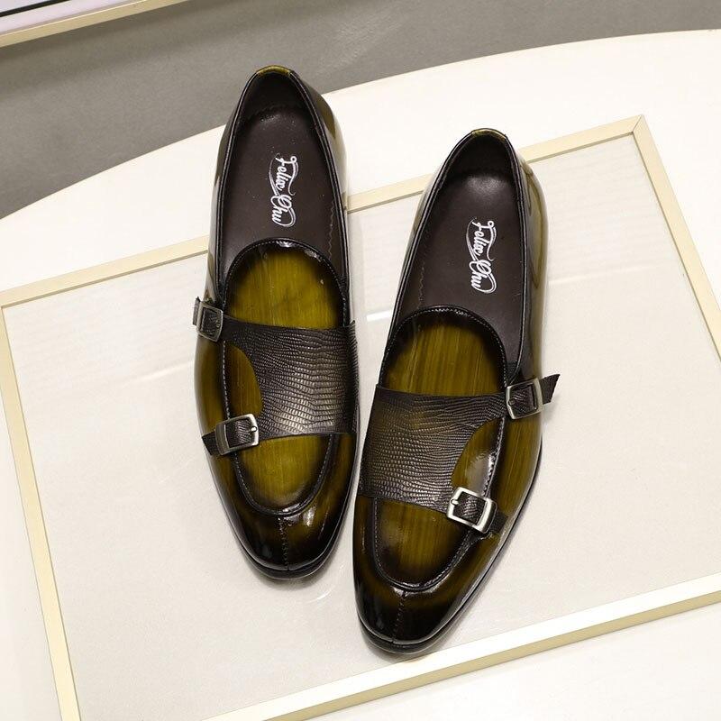 2019 الخريف براءات الاختراع والجلود رجل المتسكعون الزفاف حزب اللباس أحذية أسود أخضر الراهب حزام عارضة أزياء الرجال الانزلاق على الأحذية-في أحذية رسمية من أحذية على  مجموعة 3