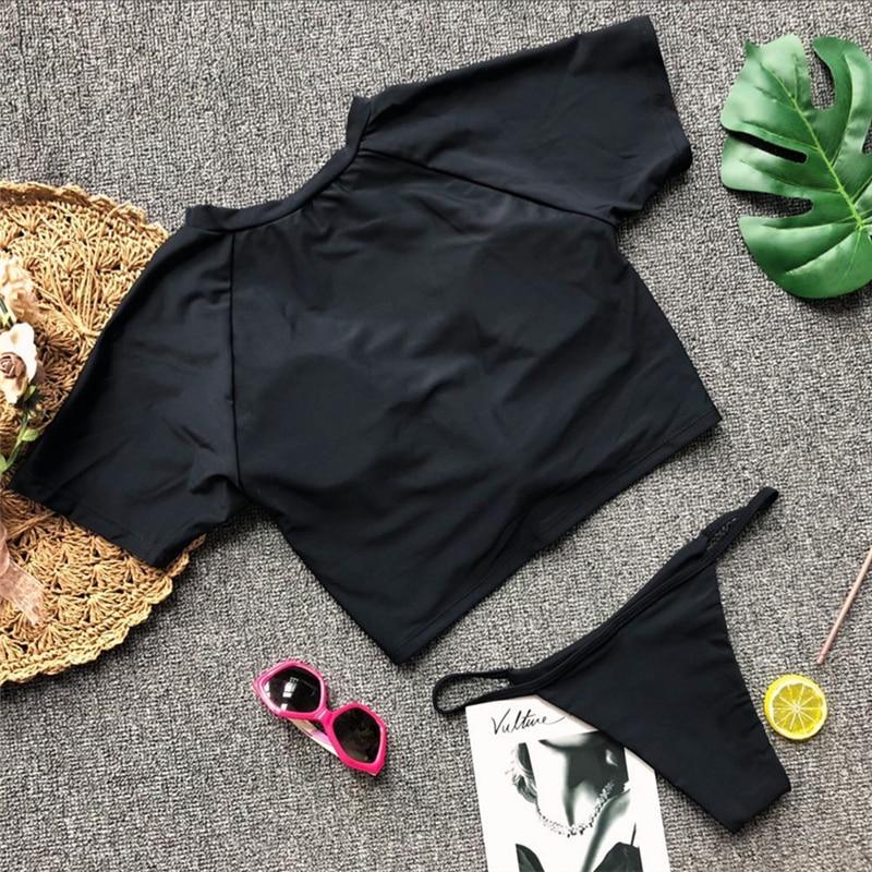 HTB1G83moTXYBeNkHFrdq6AiuVXaS Knot crop top bikini 2019 Leopard swimwear women bathers Yellow push up swimsuit female T-shirt thong bikini sexy bathing suit