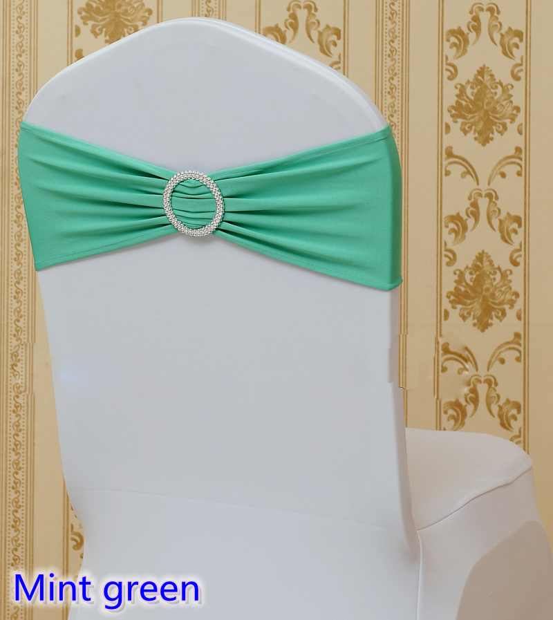 Mint Green Colour Spandex Chair Sash Wedding Chair Sashes With Round Buckle Lycra Stretch Sash For Chair Spandex Band Universal