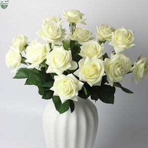 Image 3 - (شراء 2 مجموعة الحصول على إضافي 10% OFF) 11 أجزاء/وحدة الرئيسية/ديكور زفاف صناعي زهرة العروس باقة اللاتكس وردة بملمس طبيعي الزهور