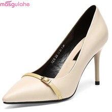 Masgulahe Black Beige Fashion Spring Autumn New Women Shoes Pointed Toe Ladies Wedding Natural Genuine Leather
