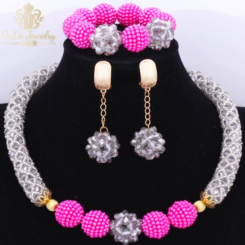 Gorgeous African Beads Bridal Jewelry Sets Brand Fashion Necklace Earrings Set 2017 Grey And Pink Accessories For Women Cute