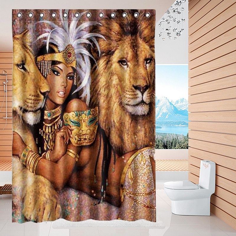 NEW!!!150X180cm Animals Beautiful African Woman With Lions Waterproof Bathroom Shower Curtain Wedding Gift Home Decor