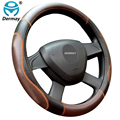 "Top Quality Genuine Leather Steering Wheel Cover Fit steering Wheel 14-15"" Fashion Luxury Design For Most Cars"