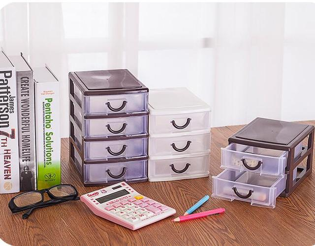 Petit tiroir en plastique de papeterie boîte de rangement de bureau