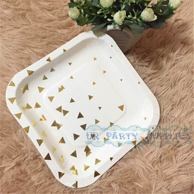 Free Shipping 24pcs Small 6inch Paper Plates Gold Foil Square Plates Wedding Baby Shower Christmas Party & Free Shipping 24pcs Small 6inch Paper Plates Gold Foil Square Plates ...