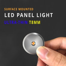 12pcs Super Mini LED Panel Light DC12V 1W Ultrathin T8MM Surface Mounted Ceiling Spot Light display case Showcase Cabinet Lamp
