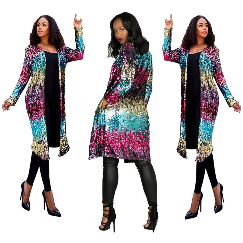 Sparkly Sequin Long Cardigan Women Spring Fashion Long Sleeve Open Front   Trench   Coat Ladies Party Glitter Kimono Cardigan Coat