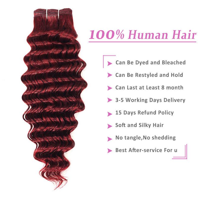 Красный бордовый пучок s 1 шт Омбре блонд глубокая волна малазийские волосы переплетения пучок Pinshair 100 человеческие волосы Омбре толстый пучок нереми