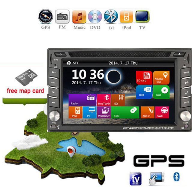 In dash 2DIN Car Dvd GPS Player Dvb-t ISDB-T Digital TV (optional) Navigation Stereo Radio video Map PC camera car parking