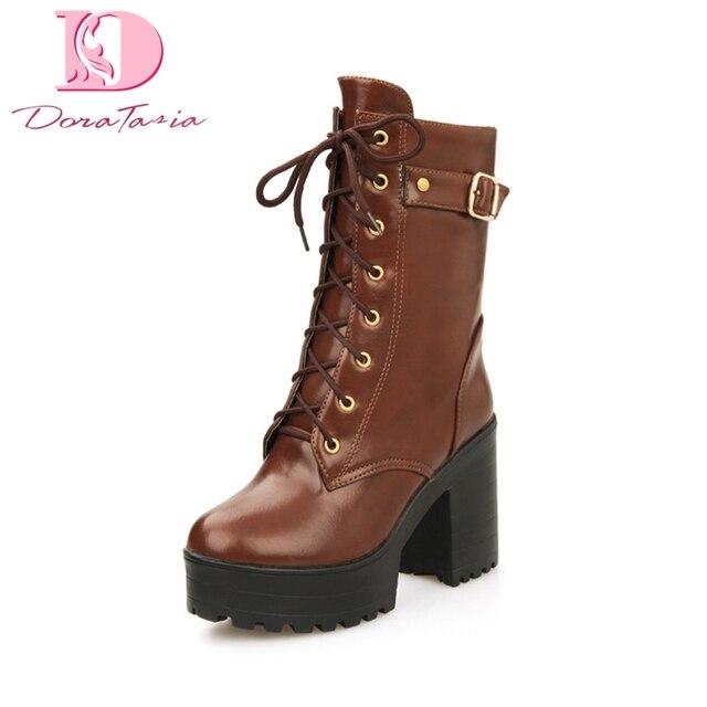 Doratasia Plus rozmiar 34-44 dodaj futro zimowe buty ocieplane kobieta buty Zip Up kwadratowe obcasy moda połowy łydki buty buty damskie kobieta