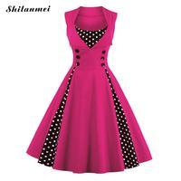 Plus Size Dresses For Women 4xl 5xl 6xl Retro 50s 60s Vintage Dress Polka Dot Patchwork