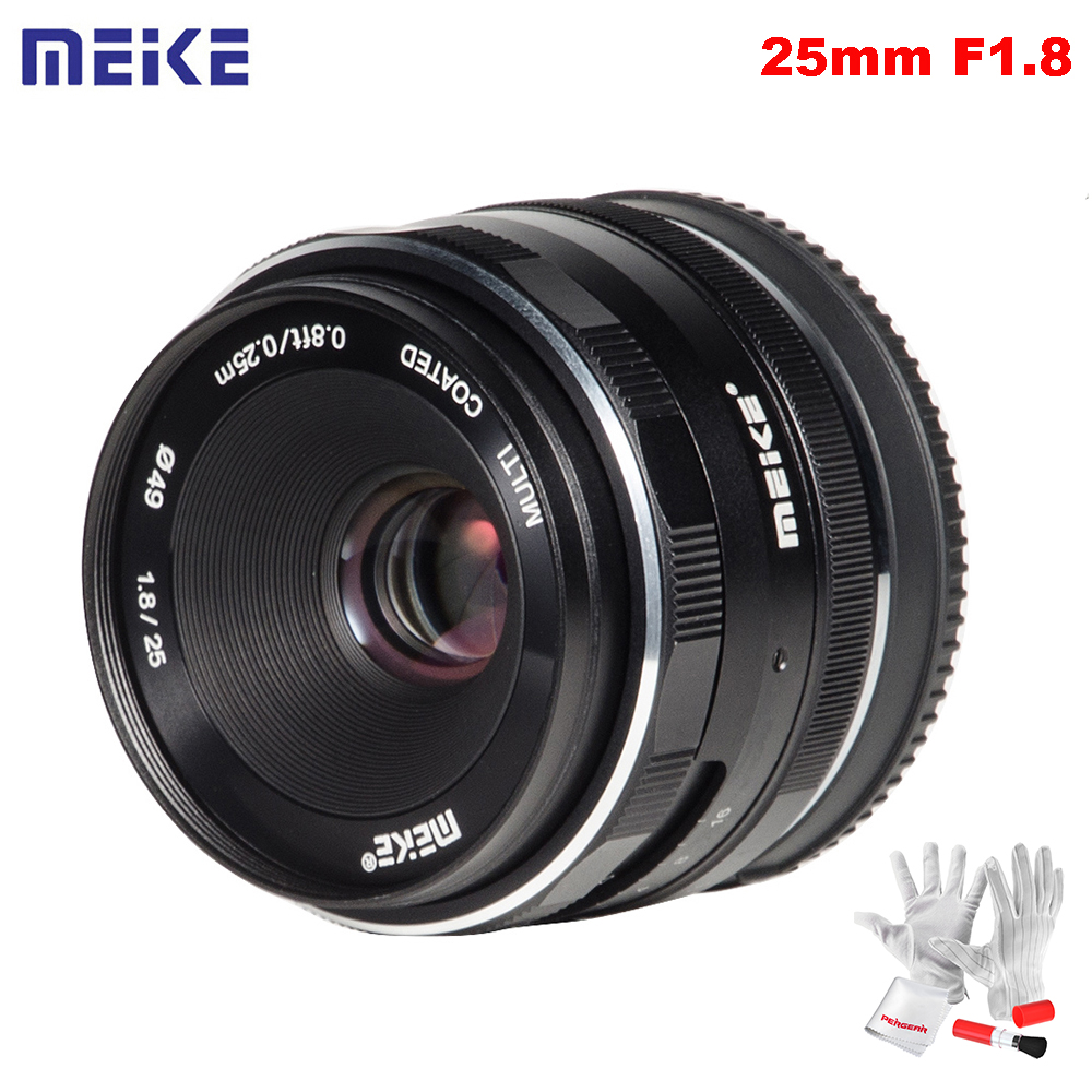 купить Meike 25mm F1.8 Large Aperture Wide Angle Lens Manual Focus Lens for Sony E Mount / for Fuji Camera A6500 A7 A7II A7R X-T1 X-T2 по цене 6119.1 рублей