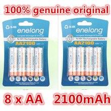 8pcs 100 genuine original enelong 2100mAh NiMH AA rechargeable batteries high quality toys font b cameras