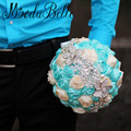 Artificial Ivory Turquoise Wedding Bouquets Brooch Pearl Flores De La Boda Ramos De Novia	Beaded Bridal Bouquet Roses Satin