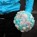 Bouquets De Casamento Artificial Marfim Turquesa Broche de Pérolas Flores De La Boda Ramos De Novia Frisada Nupcial Buquê de Rosas de Cetim