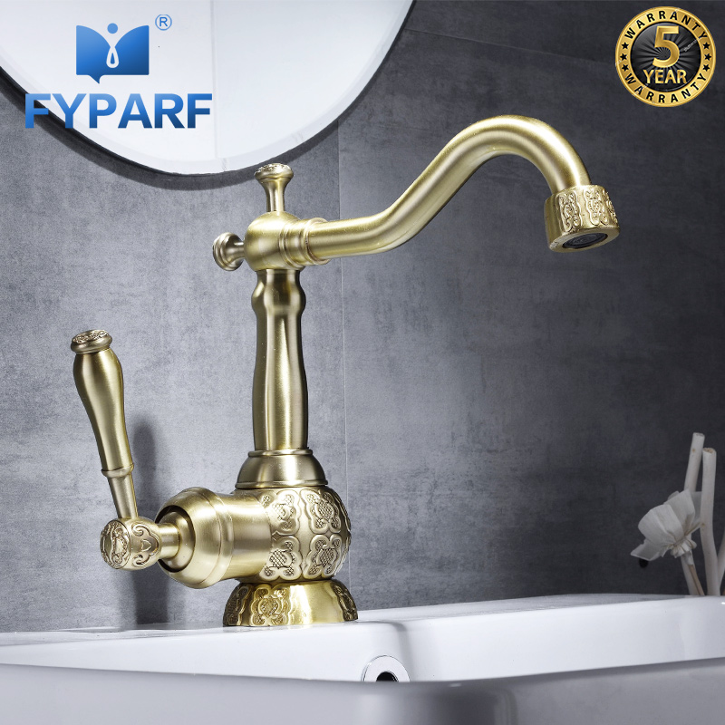 FYPARF Basin Faucet Brass Excellent Core Golden Bathroom Sink Faucets Single Handle Hot and Cold Faucet for the Sink Water Tap fyparf waterfall bathroom faucet single handle sink faucet hot cold bathroom water mixer tap brass wall mounted basin faucets