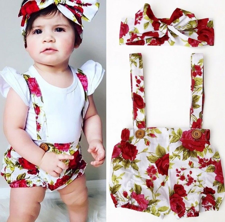 Floral Toddler Baby Kids Girls Rompers Jumpsuit Shorts Pants + Headband Summer Outfits Clothes Set