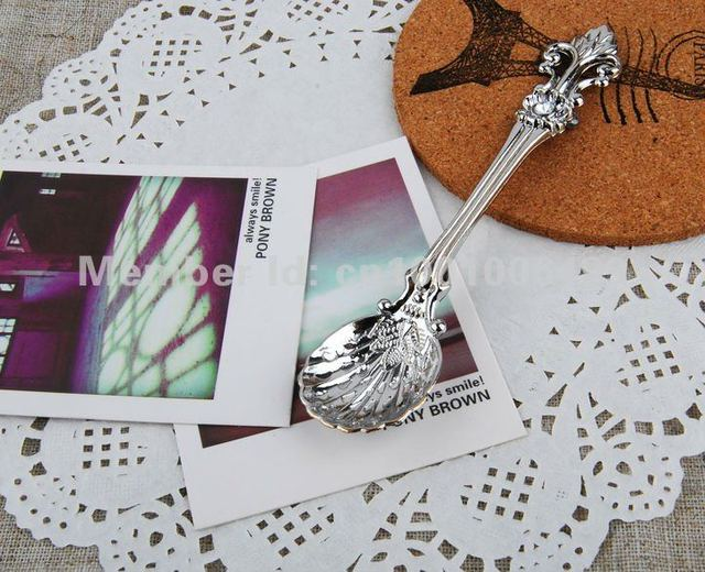 6 pcs/lot tea coffee ice cream spoons as gift Flower and Baker spoons Silver free shipping