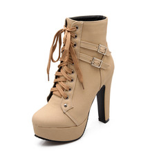 Explosion models high heels European and American style cross straps Martin boots