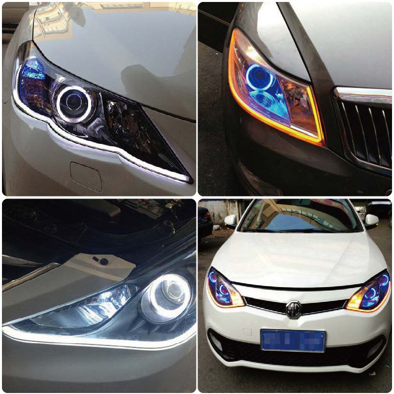 SUNKIA 45CM White Red Yellow Blue White Yellow Flexible Headlight Daytime Lamp Switchback Strip Angel Eye DRL Decorative Light in Signal Lamp from Automobiles Motorcycles
