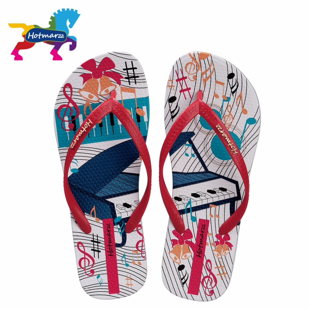 Hotmarzz Kvinnor Flip Flops Sommar Hem Tofflor Beach Sandal Skor Fashion Slides Piano Print Woman House Shoes