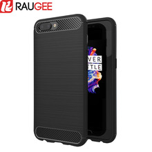 RAUGEE for OnePlus 5 Case Cover Soft TPU Carbon-fiber Silicone Protective Back Cover Case for oneplus 5 Five Smartphone 5.5inch