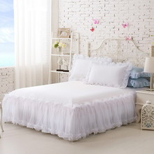 100%Cotton Solid Color Lace Luxury Bedding Sets King Size Queen Bed For Girl Sheet Set Pillow Case White skirt
