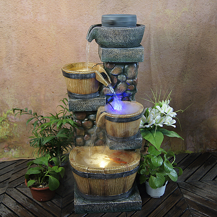 Rockery Water Fountain Pond Living Room European Style Garden Ornaments Lucky Feng Shui Wheel