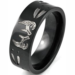 Shardon Jewelry Wedding Band Men S 8mm Pipe Carved Black Deer Antlers Tracks Anium Two Tone Buck Ring Outdoor In Rings From Accessories On