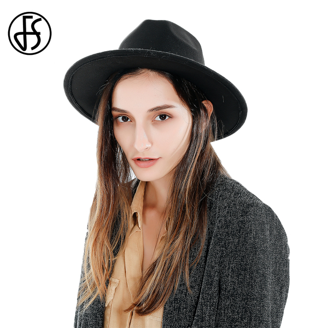 40d5e129982 FS Black Women Hats For Church Elegant Felt Fedora Hat Men Wide Brim  Vintage Top Jzz Cap European American Round Caps Winter. 1 order
