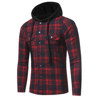 Spring And Autumn New Men S Flannel Plaid Shirt Fashion Mens Slim Casual Long Sleeved Hooded