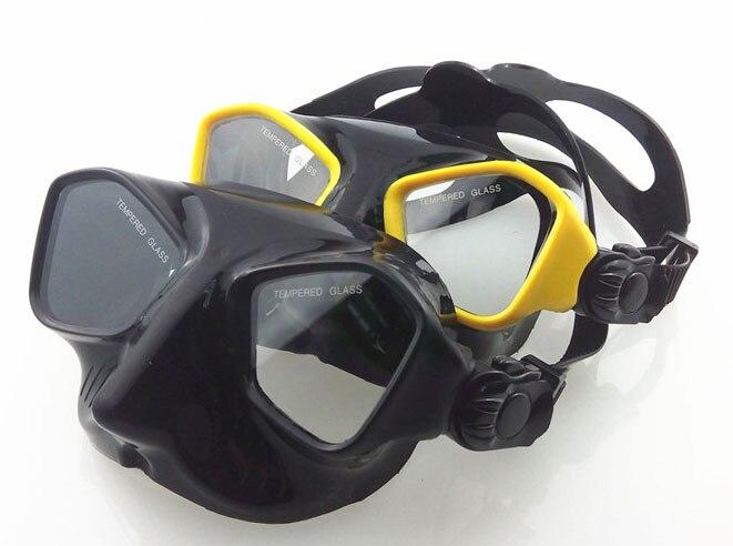 Extrême faible volume chasse sous-marine masque de silicium noir apnée masque top chasse sous-marine et plongée engrenages trempé plongée masque de plongée