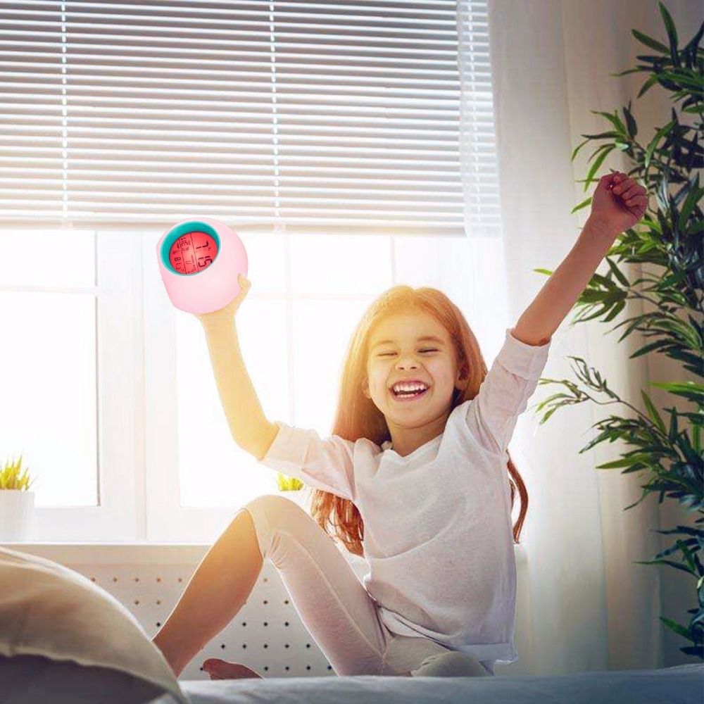 Cuby Digital Alarm Clock Student Clock Large LED Display Snooze Electronic Kids Clock Light Sensor Nightlight Office Table Clock