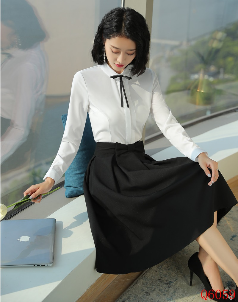 f051f25ed69ec1 Femmes D'affaires Dames Work Wear Et Avec Jupe Blouses Ensembles Ol ...