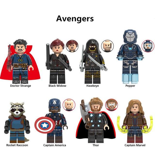 8 pçs/set Endgame 4 Vingadores Coleção Figuras de Super-heróis blocos de Construção singular Dr. Hawkeye Surpresa Capitão Crianças brinquedo de presente