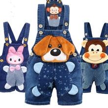 Одежда для малышей 1, 2, 3, 4 лет, джинсовые комбинезоны для мальчиков и девочек, шорты, детские джинсовые комбинезоны для малышей, милые штаны с героями мультфильмов, Bebe, Летний комбинезон