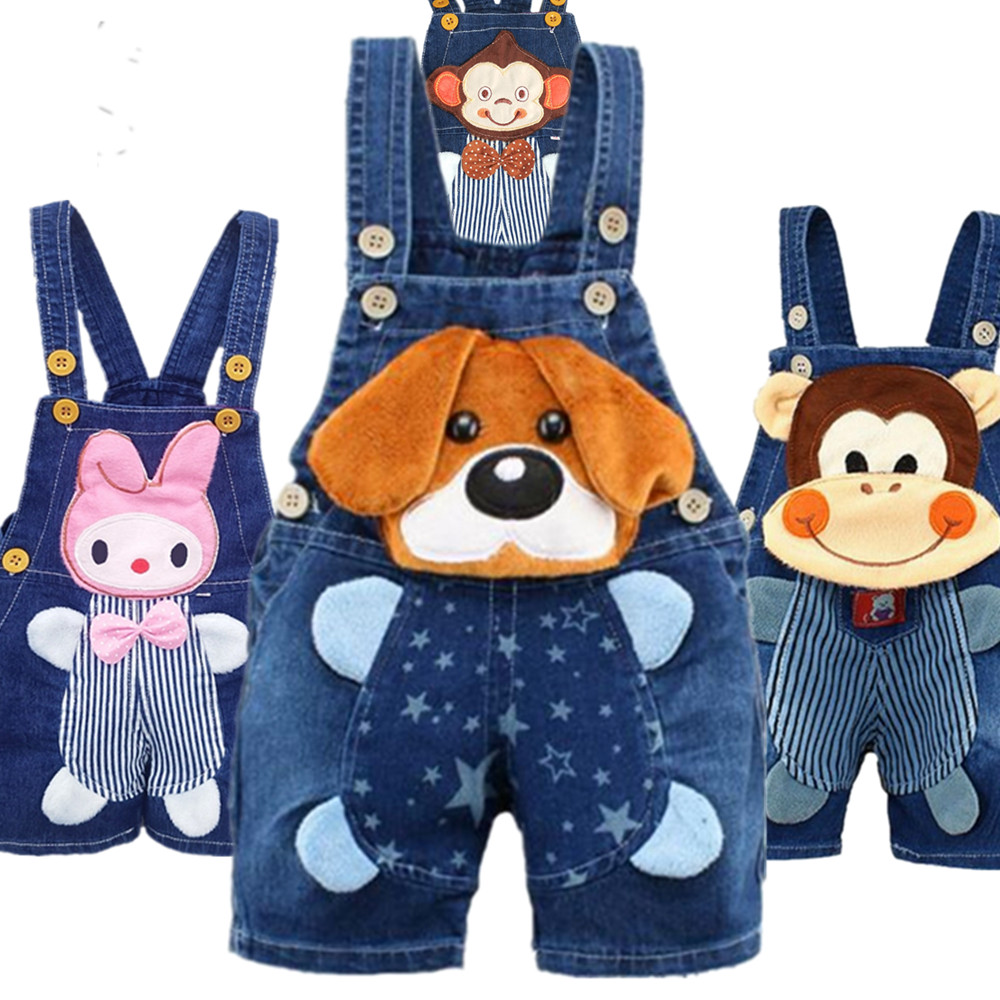 1 2 3 4T <font><b>Baby</b></font> <font><b>Clothing</b></font> Boys Girls Jeans Overalls Shorts Toddler Kids Denim Rompers Cute Cartoon Bebe Pants Summer Bib Clothes image
