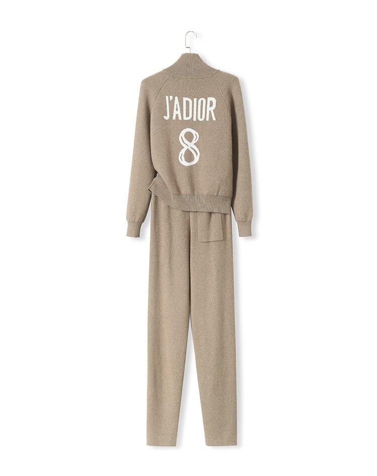 Deux Cachemire En Survêtements pièce Femmes Nouveau À Costume Tricot 2018 Chandail Tricoter Lettre Pantalon gris Noir Zipper Cardigan wH6AHxqS