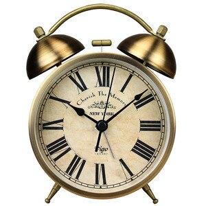 Hot Night Light Metal Vintage Alarm Clock Bedroom Retro Table Clock Bedside Desktop Quartz Desk Clock Movement Mechanis Gift