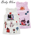 New Children Italy Style Clothing Girl Kid Cartoon Beading  Dress Sleeveless Round Collar Straight  Kids Party Gift tyh-20352