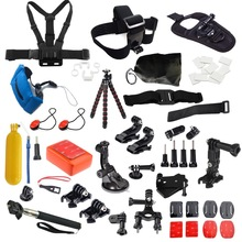 Go pro Accessories Set float Helmet Harness Chest Belt Head Mount Strap FOR xiaomi yi Gopro Hero 5 4 2 3+ Sj4000 Black Edition