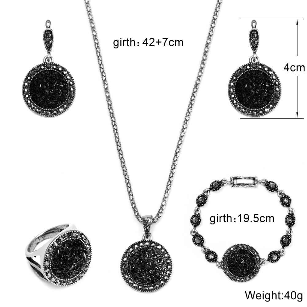 1 ชุดเงิน VINTAGE Rhinestone สร้อยคอต่างหูสร้อยข้อมือแหวนชุดโบฮีเมียสีดำหักหินงานแต่งงานชุดเครื่องประดับ