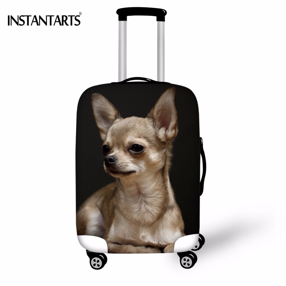 INSTANTARTS Travel On Road Luggage Protect Covers Apply To 18-30 Inch Suitcase Elastic 3D Chihuahua Dog Printed Dust Rain Cover