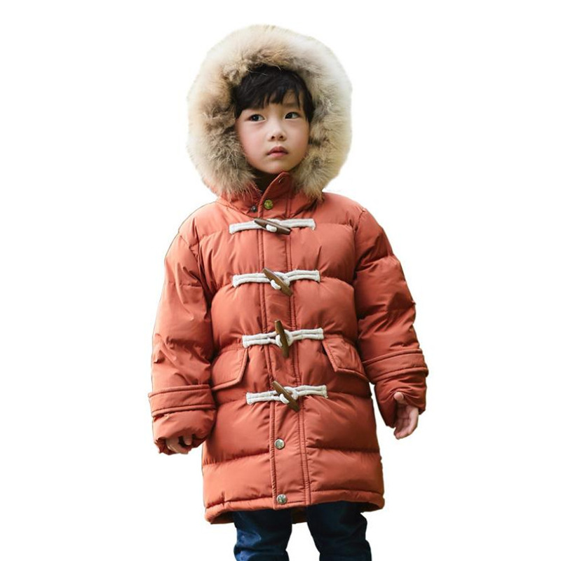 DFXD High Quality Children Long Soild Color Zipper Horn Buckle Thicken Warm Down Coat Fashion Boys Girls Warm Outwear 2-8Years