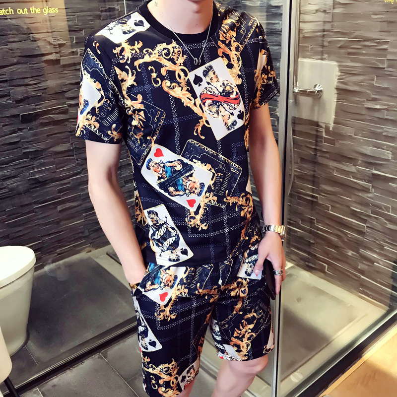 2018 Summer New Leisure Fashion Short Sleeve Set print T-shirts + Short Pants Men Summer Tracksuit Men Casual Brand Tee Shirts ...