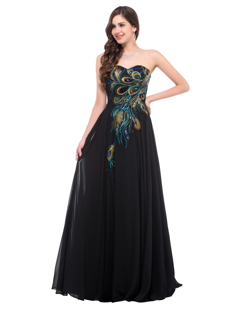 58f1dbe6e4a66 Sweetheart Peacock Navy Blue Purple Black Bridesmaid Dresses Elegant ...